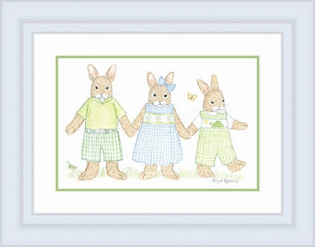Three Bunnies Framed Lithograph