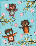 Three Hoots Canvas Reproduction