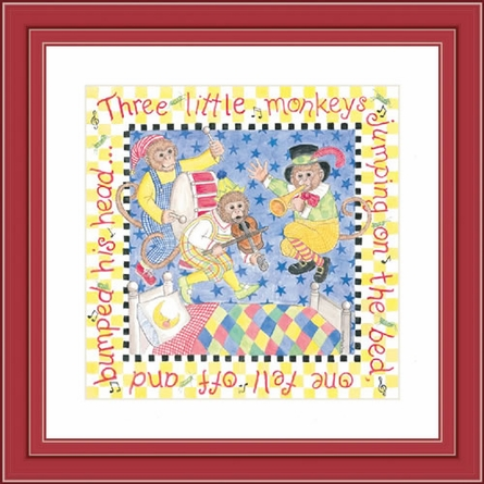 Three Little Monkeys Framed Lithograph