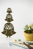 Three Owls in Brown Kids Wall Stickers