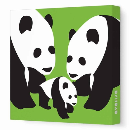Three Pandas Canvas Wall Art