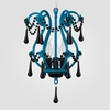 Tiffany Neon Blue Black Crystal Chandelier