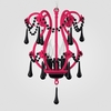 Tiffany Neon Fuchsia Black Crystal Chandelier