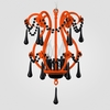 Tiffany Neon Orange Black Crystal Chandelier