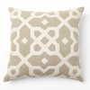 Tile Wool Applique in Natural Throw Pillow