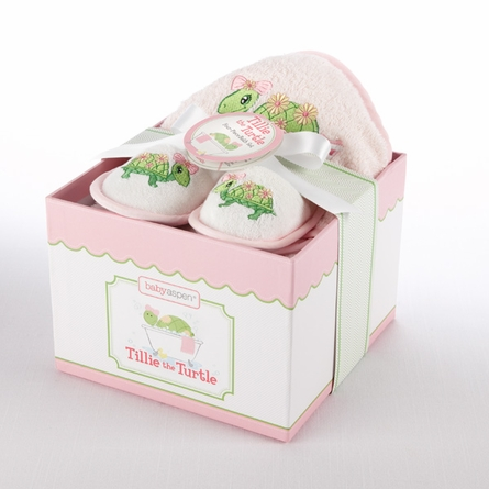 Tillie the Turtle Four-Piece Hatbox Bath Time Gift Set