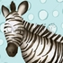 Timmy the Zebra in Powder Blue Canvas Wall Art