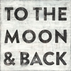 To The Moon and Back Small Vintage Art Print on Wood