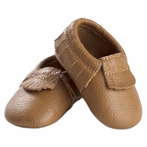 Toasted Almond Leather Baby Moccasins
