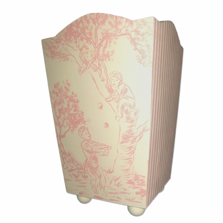 Toile And Stripes Hand Painted Waste Basket