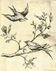 Toile Birdies in Tree - Cream & Black - Canvas Wall Art