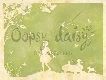 Toile Girl Pulling Wagon In Green Canvas Wall Art
