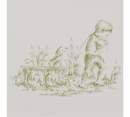 Toile Green Boy Pulling Wagon Art Print