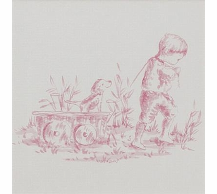 Toile Pink Boy Pulling Wagon Art Print