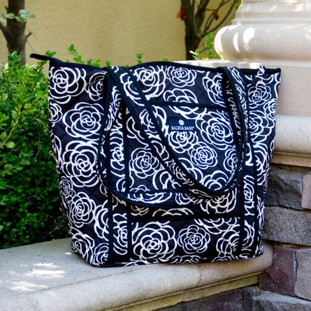 Tote Diaper Bag in Black Camellia