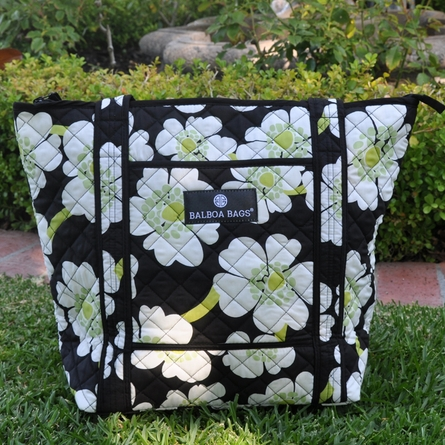 Tote Diaper Bag in Lime Poppy