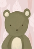 TR the Bear in Powder Pink Canvas Wall Art