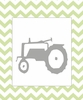 Tractor on Chevron Canvas Reproduction