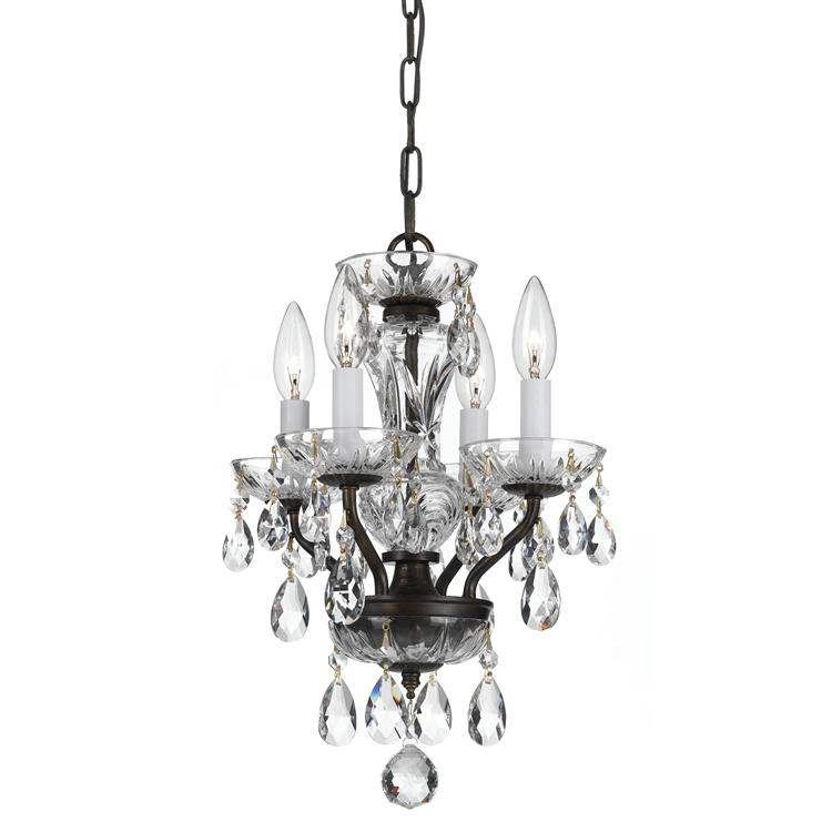 Traditional Crystal Four Light Bronze Mini Chandelier By