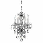 Traditional Crystal Four Light Chrome Mini Chandelier