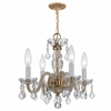 Traditional Crystal Three Light Clear Crystal Brass Mini Chandelier I