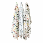 Traffic Jam Cotton Muslin Swaddle Blanket - Set of 3