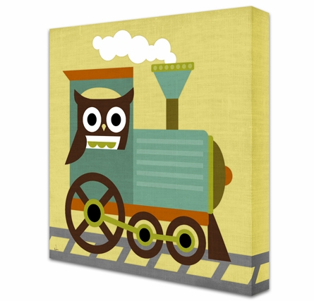 Train Conductor Owl Canvas Reproduction