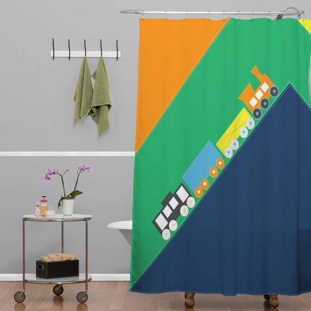 Train Orange Shower Curtain