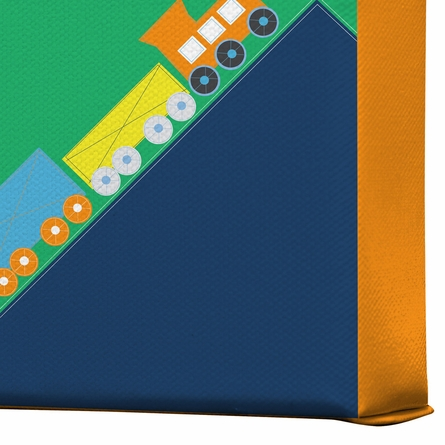 Train Orange Wrapped Canvas Art
