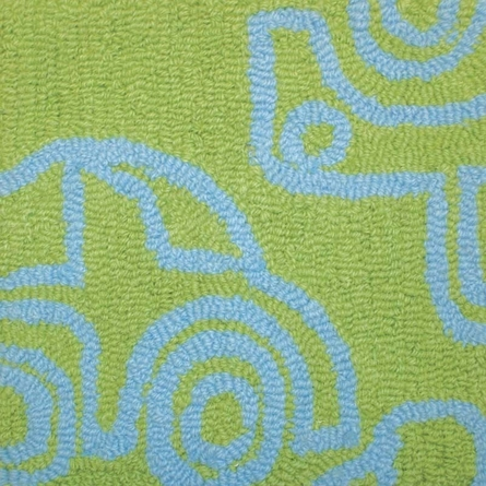 Transport Round Rug in Ozone Blue and Lotus Green