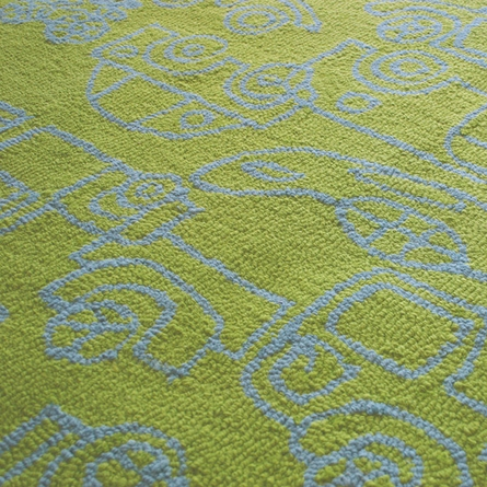 On Sale Transport Round Rug in Ozone Blue and Lotus Green