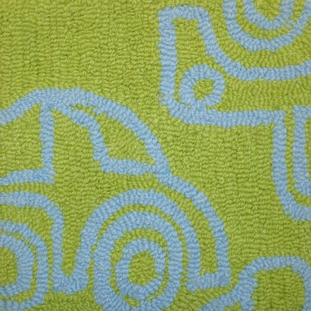 Transport Rug in Ozone Blue & Lotus Green
