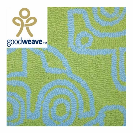 Transport Rug in Ozone Blue & Lotus Green - Large