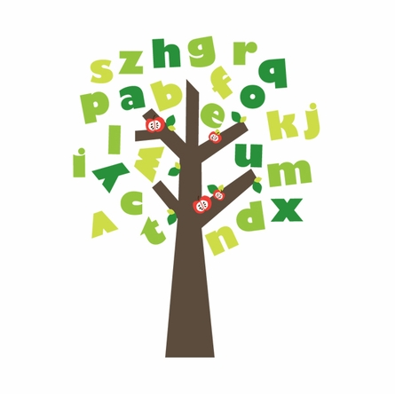 Tree of Knowledge Alphabet Fabric Wall Decals