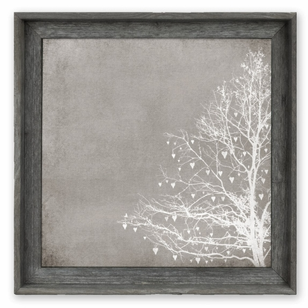 Tree of Love Taupe Framed Canvas Wall Art