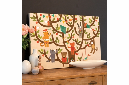 Tree Party Jumbo Wood Panel Art Print