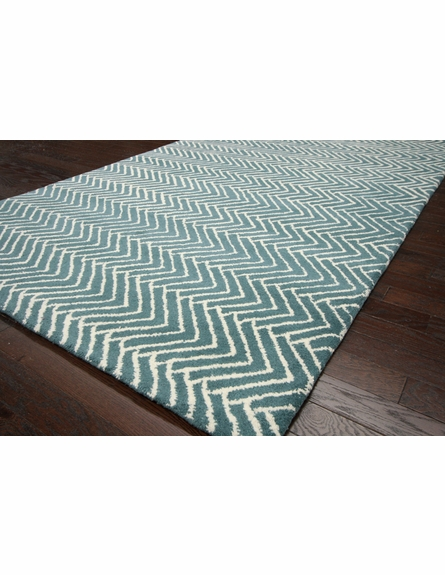 Trek Chevron Rug in Teal