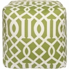 Trellis Pouf in Green and White