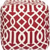Trellis Pouf in Red and White
