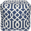 Trellis Pouf in Royal Blue and White
