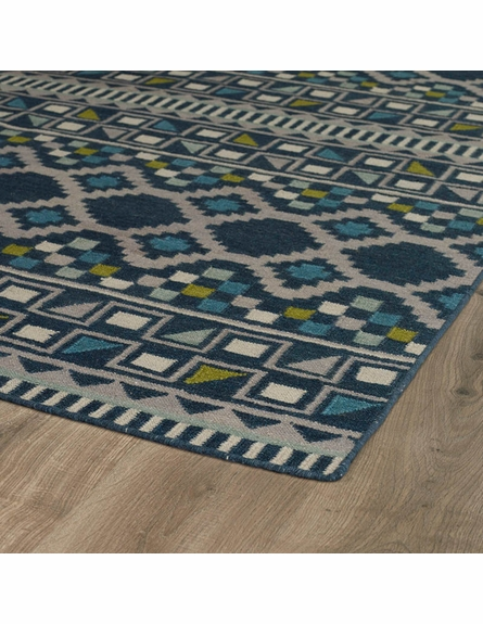 Tribal Shapes Rug in Blue