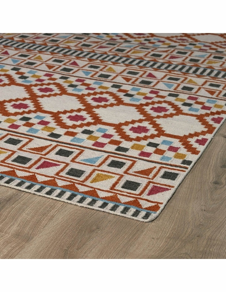 Tribal Shapes Rug in Paprika