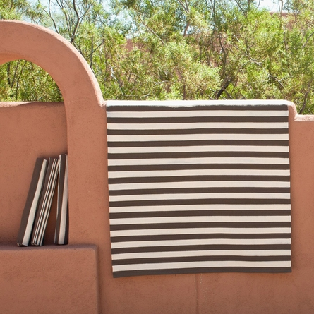 Trimaran Stripe Indoor/Outdoor Rug in Charcoal and Ivory
