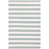 Trimaran Stripe Indoor/Outdoor Rug in Light Blue and Ivory