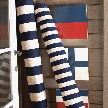 Trimaran Stripe Indoor/Outdoor Rug in Navy and Ivory