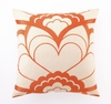 Trina Turk Deco Floral Embroidered Orange Pillow