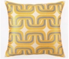 Trina Turk Geo Links Embroidered Citron & Grey Pillow