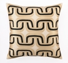 Trina Turk Geo Links Embroidered Taupe & Black Pillow