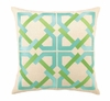 Trina Turk Geometric Tile Embroidered Blue & Green Pillow