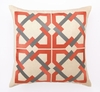 Trina Turk Geometric Tile Embroidered Orange & Grey Pillow
